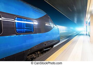 tunnel., ritten, hoog, gloeiend, trein, nacht, paardrijden, snelheid