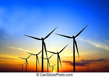 turbines, ondergaande zon