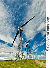 turbines, wind, roeien