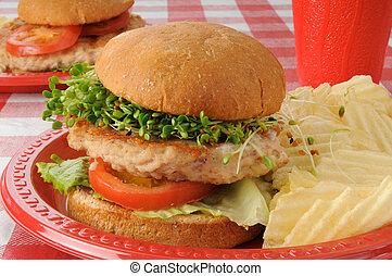 turkije, hamburger, spruiten