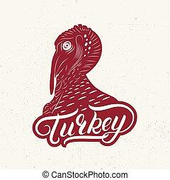 turkije, overhandiig geschrijvenene, etiket, logo, lettring