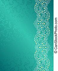 turkoois, achtergrond, swirls, delicaat, marge