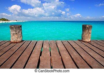turkoois, de caraïben, blauwgroen, hout, zee, pijler