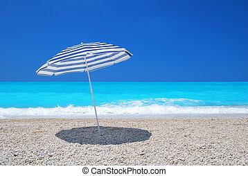 turkoois, paraplu, zon, hemel, zee, kiezel strand