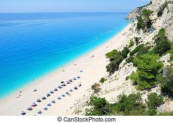 turkoois, steil, lang, groot, zee, afgronden, strand