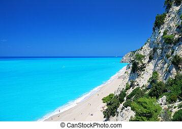 turkoois, strand, groot, zee, afgronden, steil