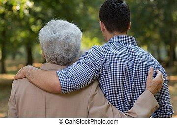 tussen, relatie, kleinzoon, grootvader