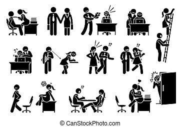 tussen, verhouding, kantoor, affaire, flirten, liefde, workers., co