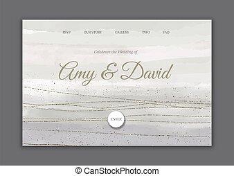 tussenverdieping, trouwfeest, geverfde, 0802, hand, decoratief, pagina