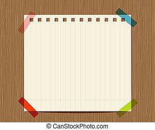 tussenvoegsel, houten, tekst, muur, notitieboekje papier, lined, jouw