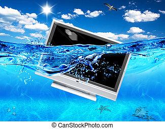 tv, electronics., ecologisch, ontwerp, sea.