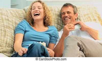 tv, lachen, paar, voorkant