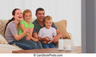 tv, lachen, voorkant, gezin