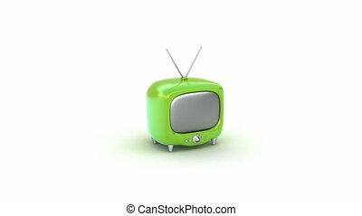 tv, set., groene, retro, vrijstaand