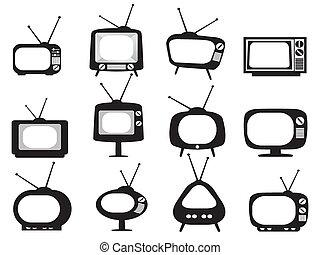tv stel, black , retro, iconen