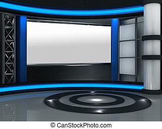 tv stel, studio, feitelijk, 3d
