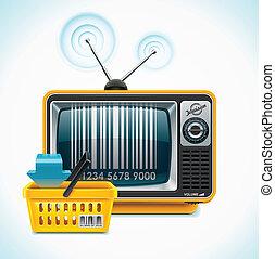 tv, winkel, xxl, vector, pictogram