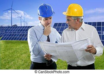 twee, architect plan, zonne, platen, hardhat, ingenieur