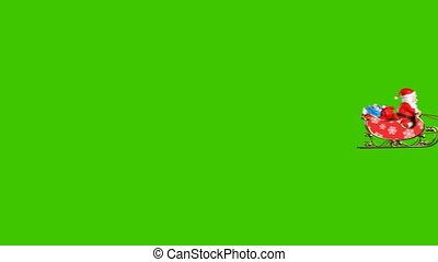 twee, vliegen, animatie, claus, kerstman, rendier, mooi, 3d, cameras, 4k, achtergrond, arreslee, groene