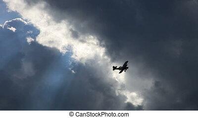 tweedekker, vliegtuig, oud