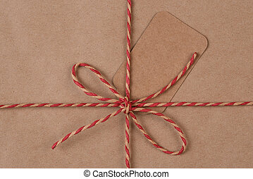 twijn, vlakte, recyclable, papier, verpakte, kerstkado