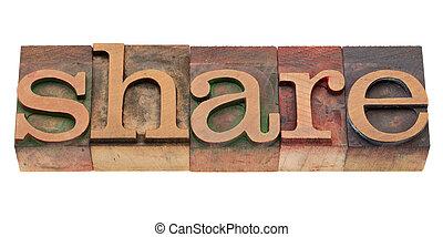 type, aandeel, woord, letterpress