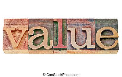 type, letterpress, woord, waarde