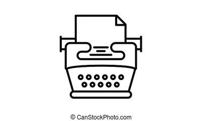 typemachine, animatie, pictogram, heimwee
