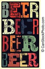 typographical, ouderwetse , stijl, bier, po