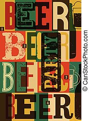 typographical, ouderwetse , stijl, pa, bier