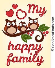 uil, boomtak, gezin, zittende