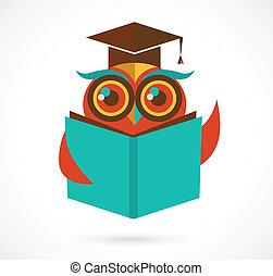 uil, school, back, bevordering pet, boek, illustratie