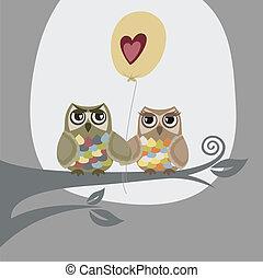 uilen, balloon, liefde, twee