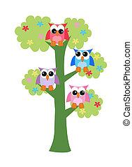uilen, boompje, kleurrijke, zittende