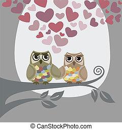uilen, liefde, twee, lucht