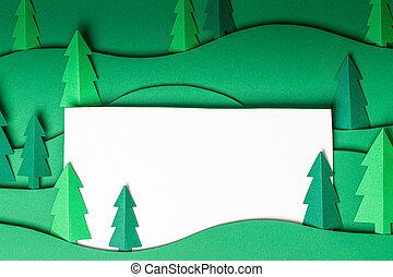 uit, papier, groene, kunstwerk, 3d, achtergrond., knallen, bomen, kerstmis