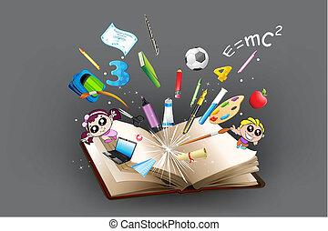 uit, voorwerp, opleiding, boek, komst