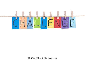 uitdaging, houten, hangen, pin, woorden