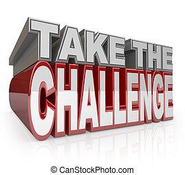 uitdaging, initiatief, nemen, woorden, actie, 3d