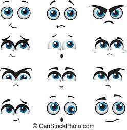 uitdrukkingen, gevarieerd, spotprent, gezichten