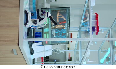 uitgeruste, lege, modernly, video:, laboratorium, verticaal