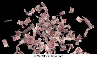 uitgestraald, chinese yuan, honderd, middelbare , lus