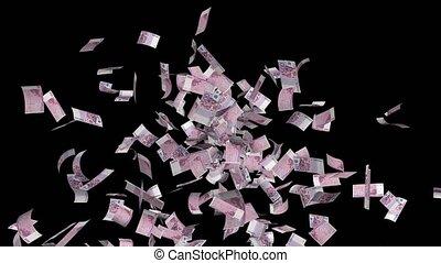 uitgestraald, rekeningen, eurobiljet, 500, middelbare , lus