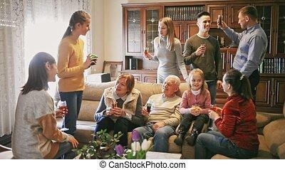 uitgeven, levend, groot, leden, samen, familie kamer, tijd