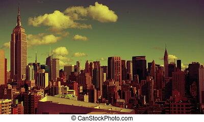 uitkijkplaats, abstract, timelapse, hoog, midtown, skyline, kleurrijke, manhattan