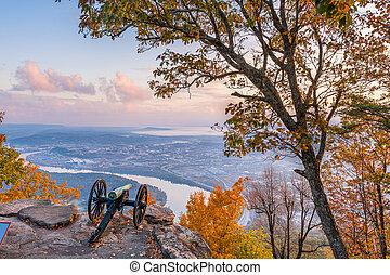 uitkijkpost, chattanooga, usa, berg overzicht, tennessee