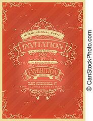 uitnodiging, retro, achtergrond, rood