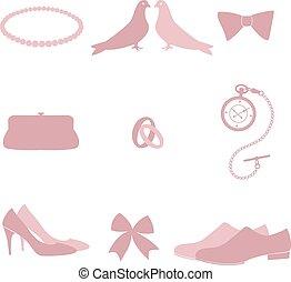 uitnodiging, trouwfeest, elements., ontwerp, ouderwetse
