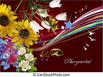 uitnodiging, vector, huwlijkskaart, groet, card., illustration.