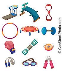 uitrusting, fitness, spotprent, iconen